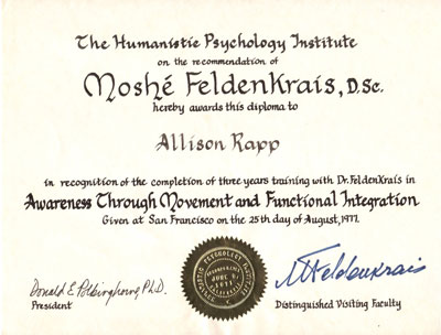 Allison Rapp Moshe Feldenkrais diploma